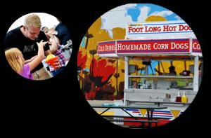 Circular photos of on site food stands
