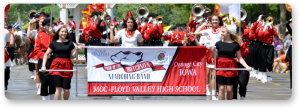 Pride of the Dutchmen marching band in parade