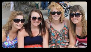 Four young women enjoying youth night