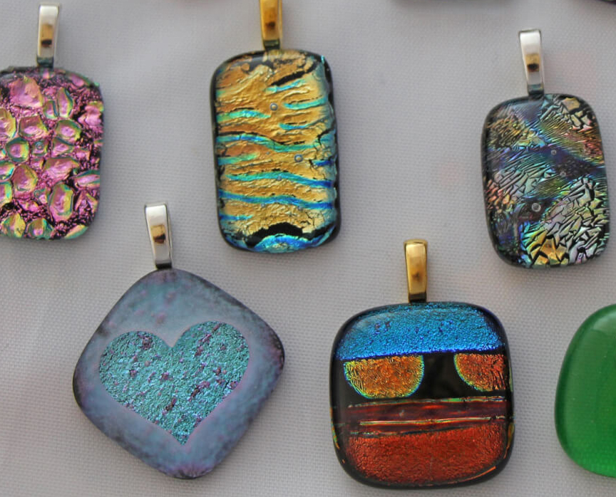Artburst jeanne rehfuss dichroic glass jewelry orange for Coralville arts and crafts show